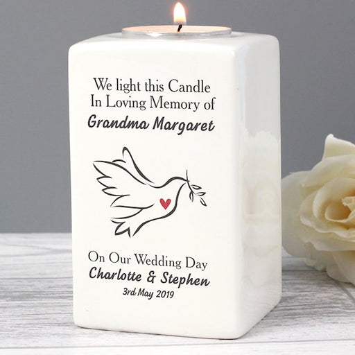 Personalised In Loving Memory On Our Wedding Day Dove Ceramic Tea Light Candle Holder from Pukkagifts.uk