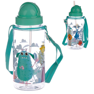 Children's Monster Water Bottle with Straw & String 450ml from Pukkagifts.uk