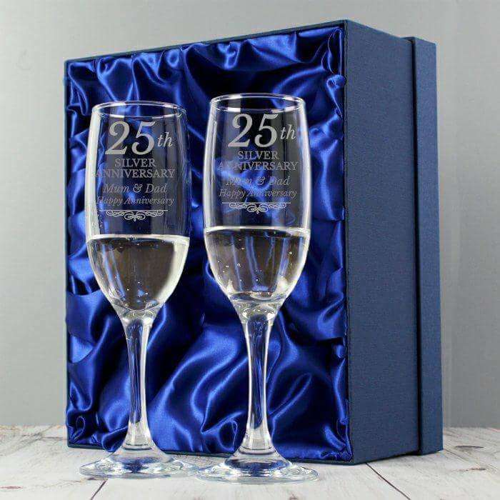 Personalised Silver Anniversary Pair of Flutes Glasses With Gift Box from Pukkagifts.uk