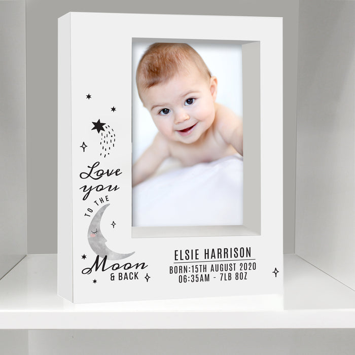 Personalised Baby To The Moon and Back Box Photo Frame 7x5