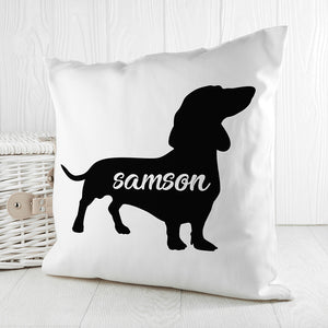 Personalised Daschund Silhouette Cushion Cover from Pukkagifts.uk