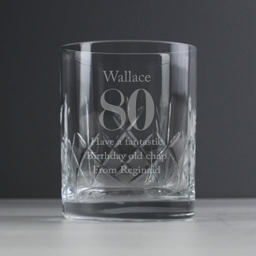 Personalised Birthday Cut Crystal Whisky Tumbler Glass