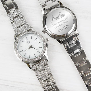 Personalised Swirls & Hearts Diamante Ladies Watch From Pukkagifts.uk