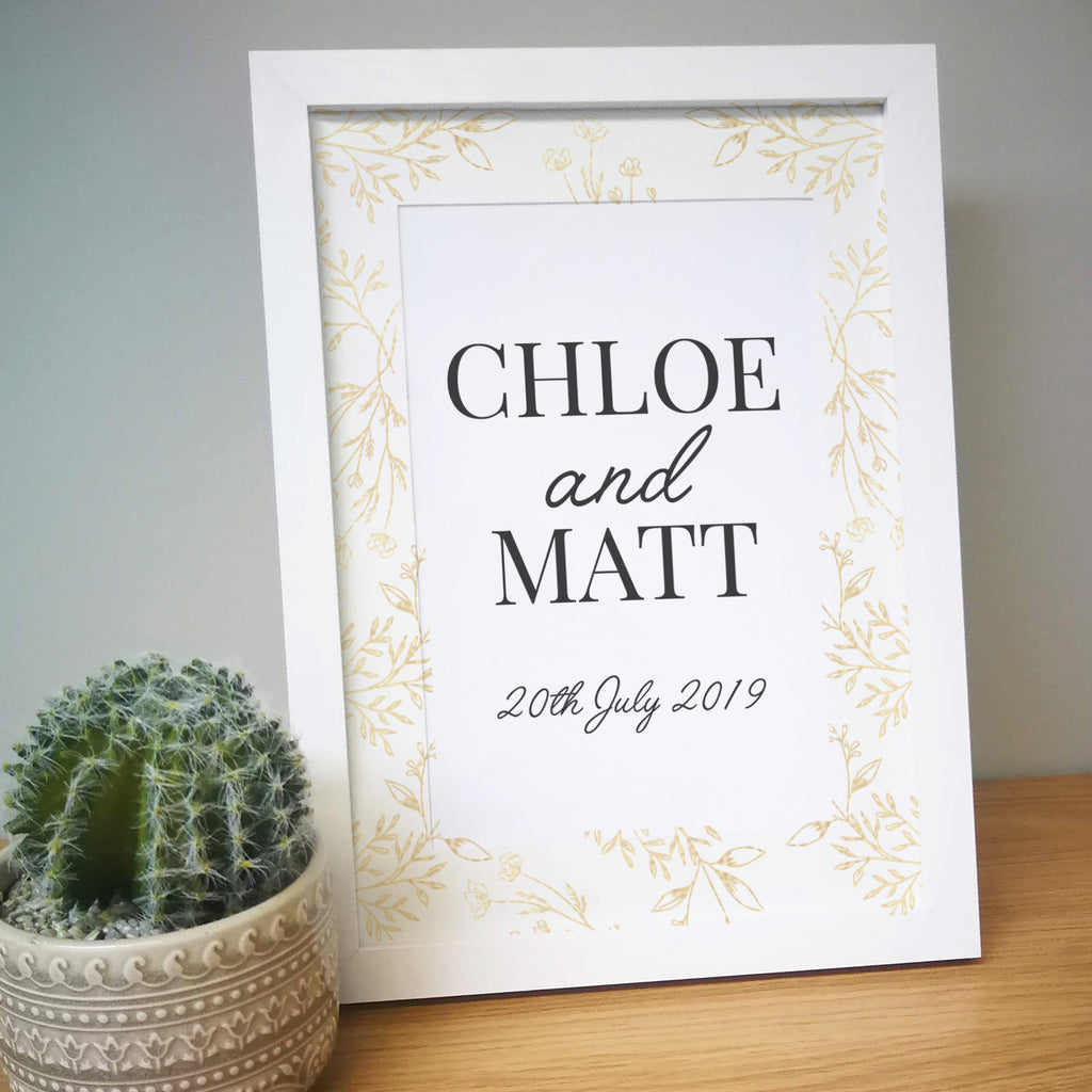 Personalised Gold Detail Couples A4 Framed Print