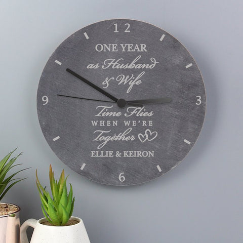 Personalised Time Flies When We're Together Anniversary Slate Clock From Pukkagifts.uk