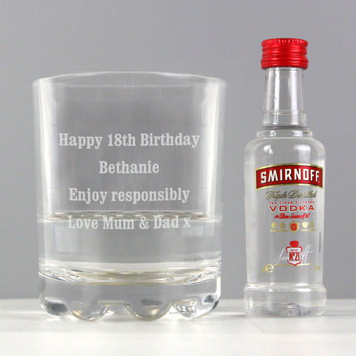 Personalised Tumbler Glass and Smirnoff Vodka Miniature Set