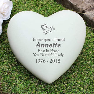 Personalised Dove Heart Memorial Grave Stone from Pukkagifts.uk
