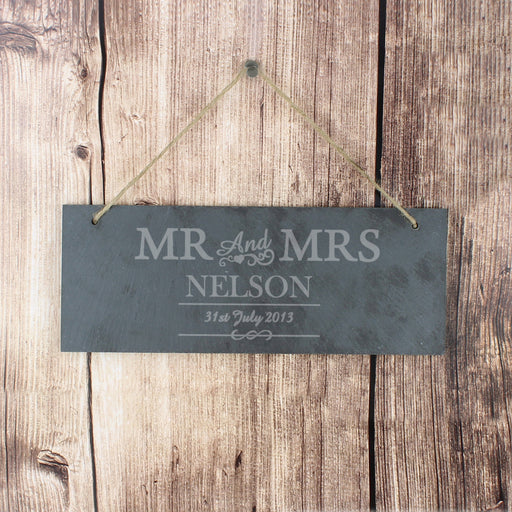 Personalised Mr & Mrs Hanging Slate Plaque Sign