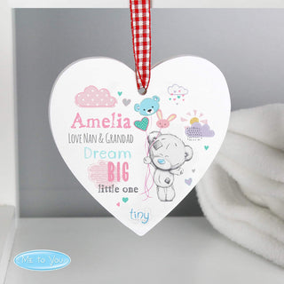 Personalised Tiny Tatty Teddy Dream Big Pink Wooden Heart Decoration from Pukkagifts.uk