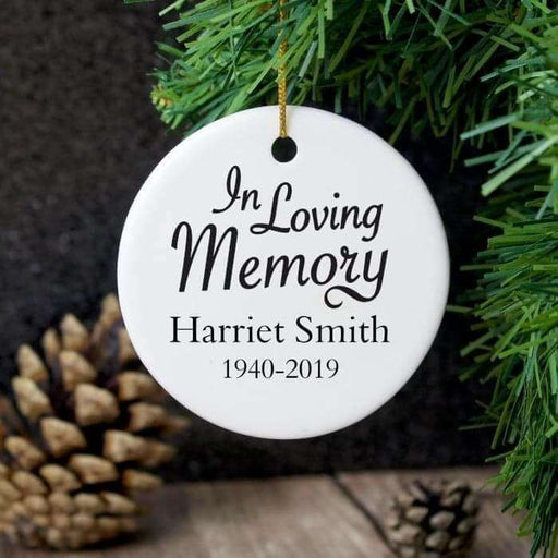 Personalised In Loving Memory Round Ceramic Decoration from Pukkagifts.uk