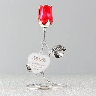 Personalised Swirls & Hearts Red Rose Bud Ornament - Free UK Delivery