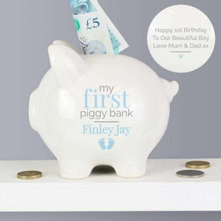 Personalised Baby Boy Piggy Bank from Pukkagifts.uk