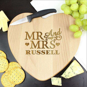 Engraved Mr & Mrs Heart Chopping Board,Pukka Gifts