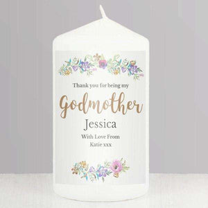 Personalised Floral Watercolour Thank You For Being My Godmother Pillar Candle,Pukka Gifts
