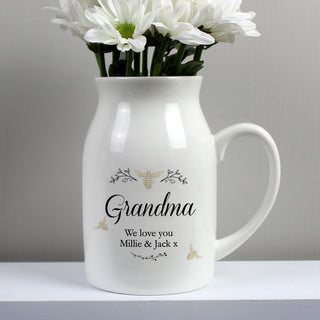 Personalised Floral Bee Flower Jug