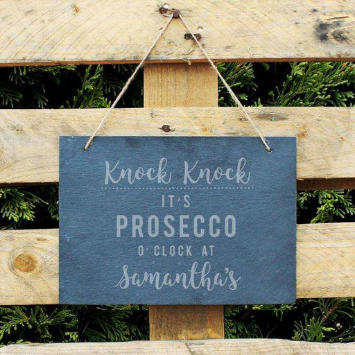Personalised Knock Knock It's Prosecco o'clock Slate Sign from Pukkagifts.uk