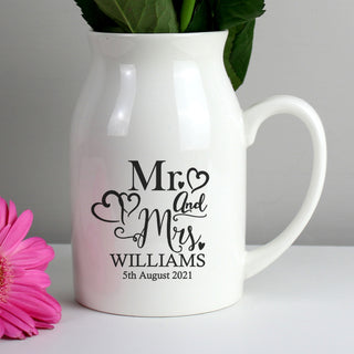 Personalised Mr & Mrs Flower Jug
