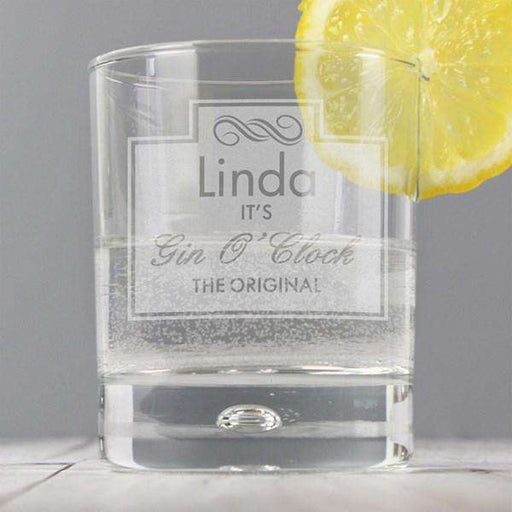 Personalised Gin O Clock Tumbler Bubble Glass from Pukkagifts.uk