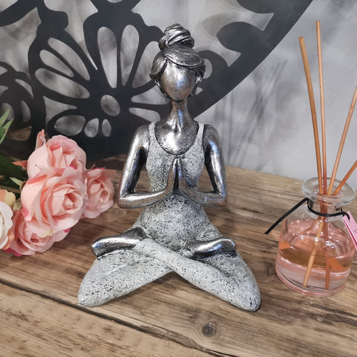 Yoga Lady Figure - Silver & White 24cm