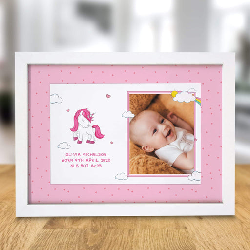 Personalised Unicorn Photo Upload A4 Framed Print