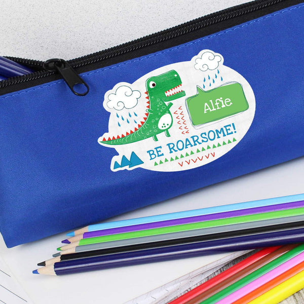 Personalised Be Roarsome Dinosaur Blue Pencil Case