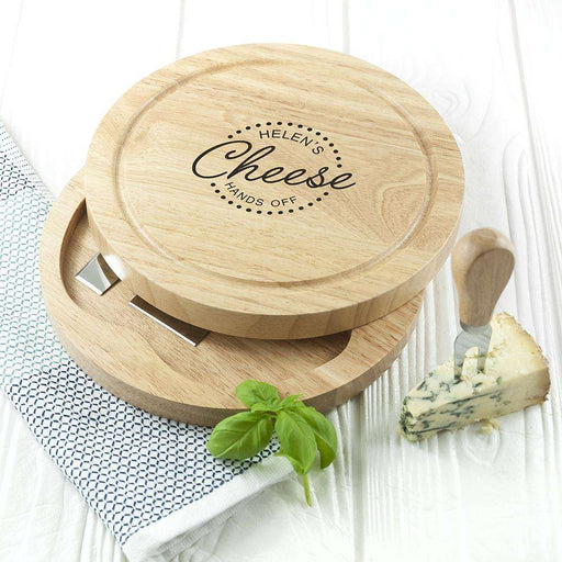 Personalised Hands Off Cheese Board Set from Pukkagifts.uk