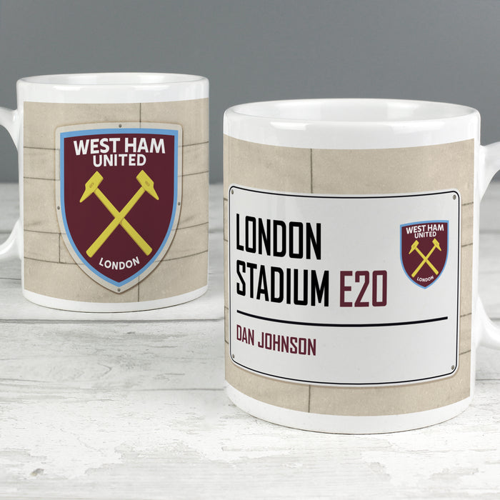 Personalised West Ham United FC Street Sign Mug