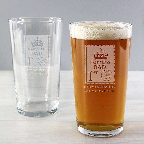 Personalised 1st Class Pint Glass from Pukkagifts.uk