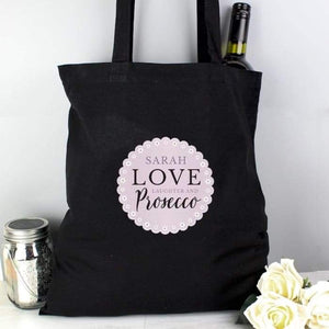 Personalised Lilac Lace Love Laughter & Prosecco Black Cotton Bag