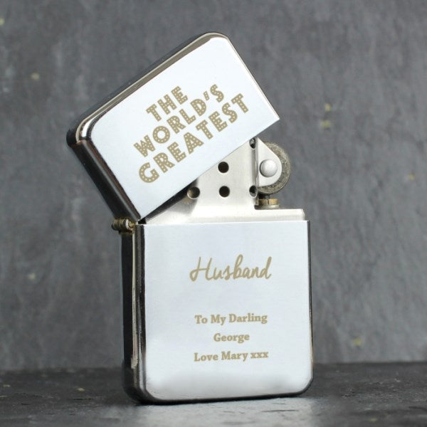 Personalised The World's Greatest Silver Lighter from Pukkagifts.uk