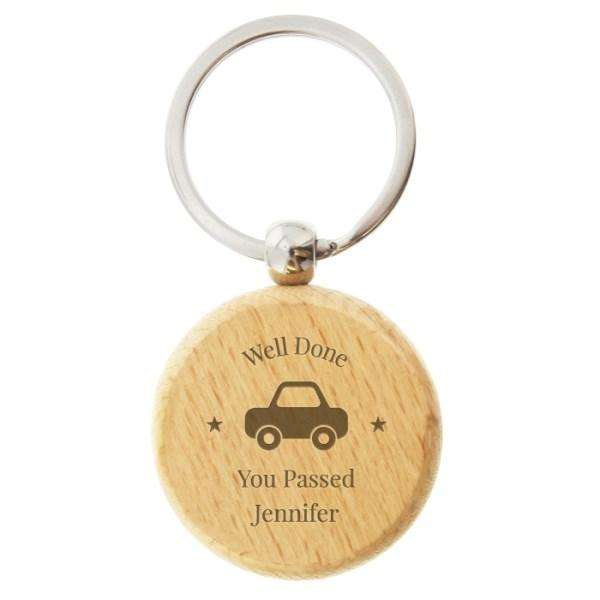 Personalised 'Car Motif' Wooden Round Keyring from Pukkagifts.uk