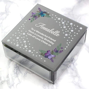 Personalised Floral Butterfly Diamante Glass Trinket Box from Pukkagifts.uk