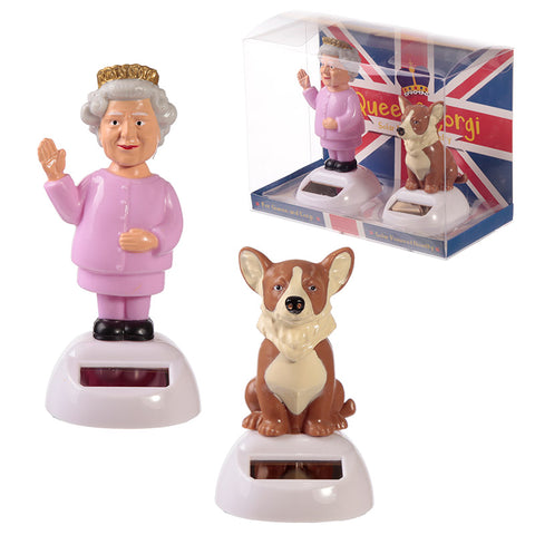 Queen and Corgi Solar Powered Dashboard Toy Set