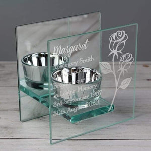 Personalised Rose Mirrored Glass Tea Light Holder | Mum | Her | Wife
