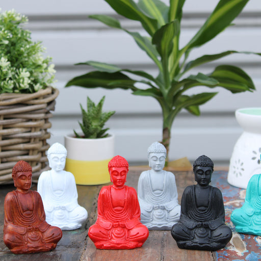 Set Of 6 Matt Mini Buddha Figures (Assorted Colours)