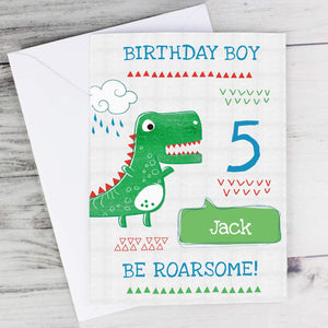 Personalised Be Roarsome Dinosaur Birthday Age Card