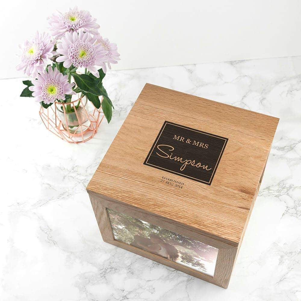 Personalised Mr & Mrs Oak Photo Keepsake Cube Box from Pukkagifts.uk