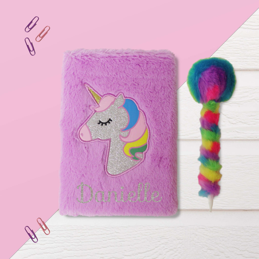 Personalised Purple Fluffy Unicorn Notebook and Fluffy Rainbow Pen from Pukkagifts.uk