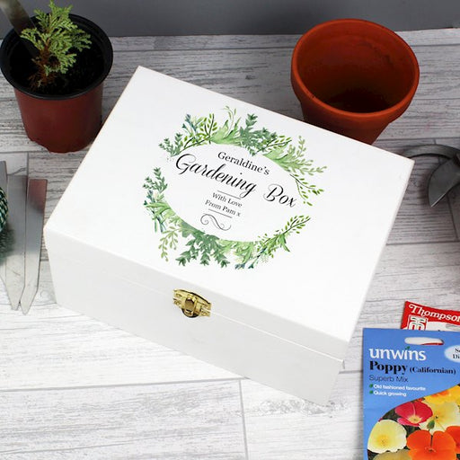 Personalised Fresh Botanical White Wooden Keepsake Box