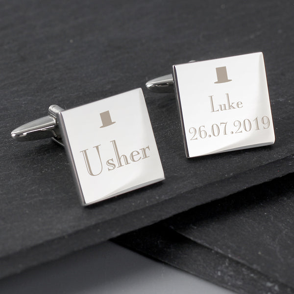 Personalised Usher Square Cufflinks