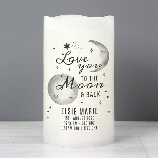 Personalised Baby Love You To The Moon and Back LED Candle