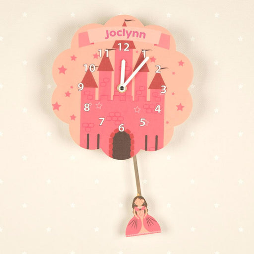 Personalised Pendulum Wall Clock - Princess Castle