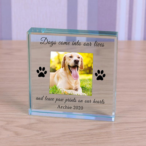 Personalised Dog Memorial Glass Block