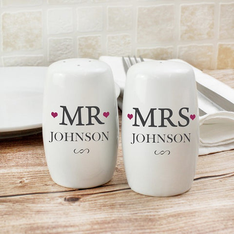 Personalised Mr & Mrs Wedding Salt And Pepper Set