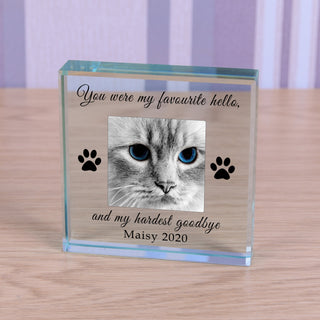 Personalised Cat Memorial Glass Token - Favourite Hello Hardest Goodbye