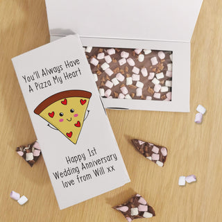 Personalised You'll Always Have A Pizza My Heart Milk Chocolate Card