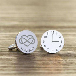Heart Infinity Engraved Wedding Time and Date Cufflinks,Pukka Gifts