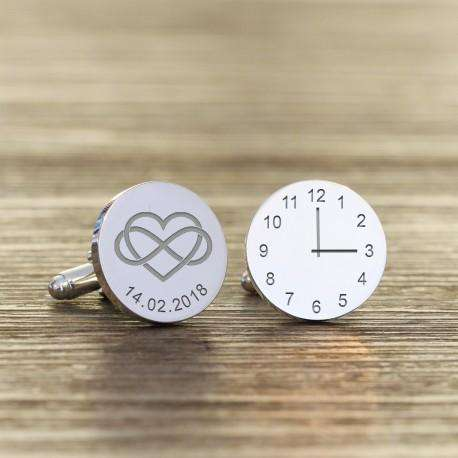 Heart Infinity Engraved Wedding Time and Date Cufflinks from Pukkagifts.uk