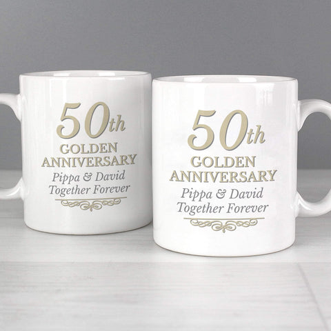 Personalised 50th Golden Anniversary Mug Set