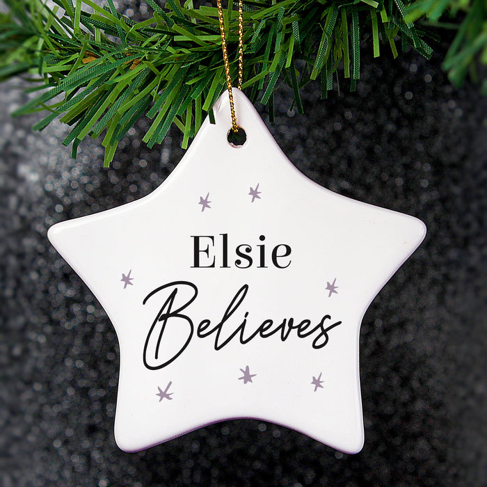 Personalised Believes Ceramic Star Decoration